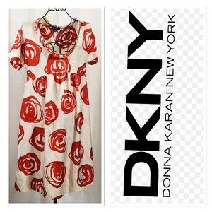 DKNY Printed Floral 100% Silk Empire Waist Dress